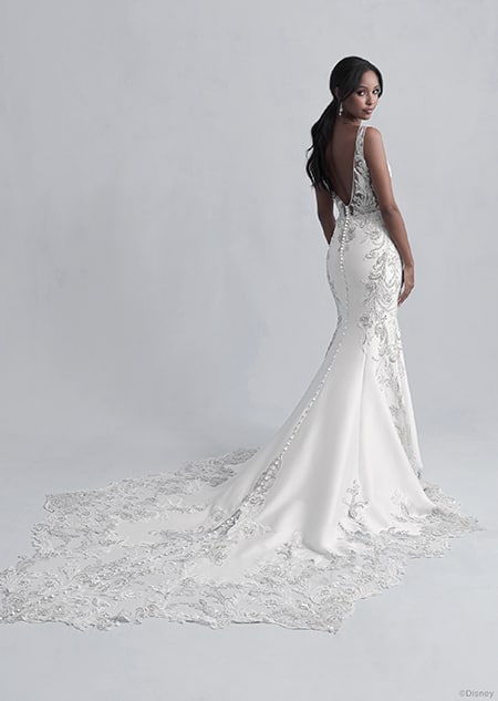 A back side view of a woman wearing the Jasmine wedding gown from the 2021 Disney Fairy Tale Weddings Platinum Collection