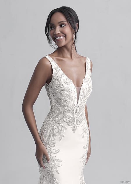 A woman wearing the Jasmine wedding gown from the 2021 Disney Fairy Tale Weddings Platinum Collection