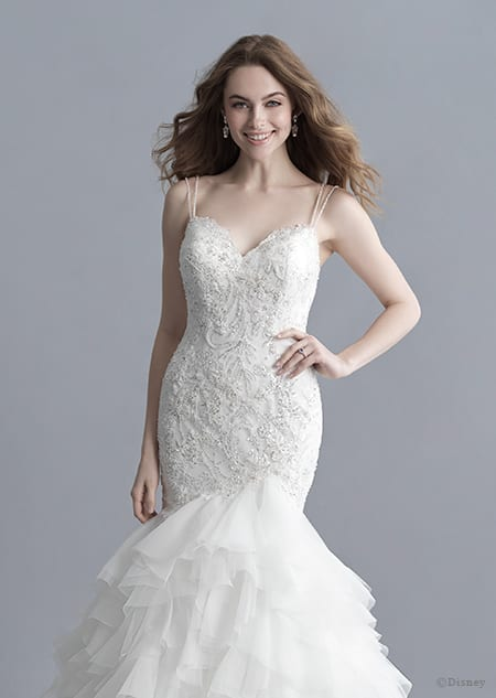 A woman in the Ariel wedding gown from the 2020 Disney Fairy Tale Weddings Platinum Collection