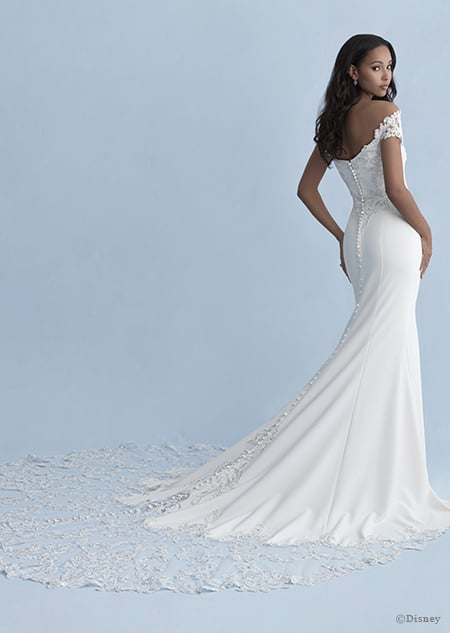 A back side view of a woman wearing the Jasmine wedding gown from the 2020 Disney Fairy Tale Weddings Collection
