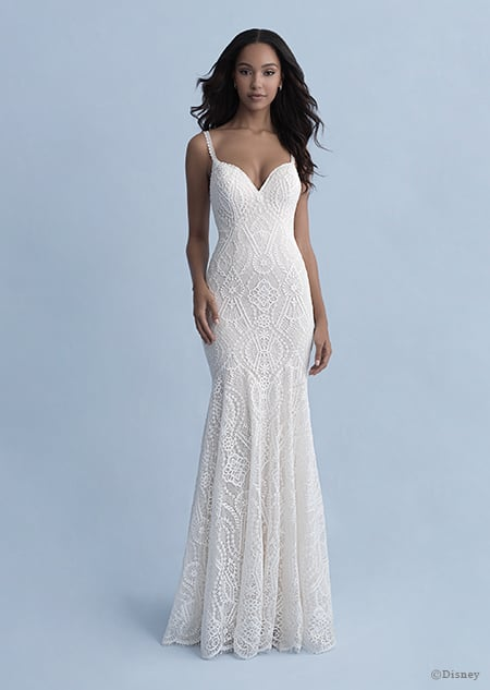 A woman wearing the Pocahontas wedding gown from the 2020 Disney Fairy Tale Weddings Collection