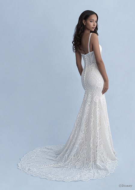 A back side view of a woman wearing the Pocahontas wedding gown from the 2020 Disney Fairy Tale Weddings
