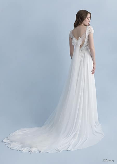 A back side view of a woman wearing the Rapunzel wedding gown from the 2020 Disney Fairy Tale Weddings