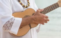 A person playing the ukulele