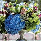 Centerpiece with blue hydrangea