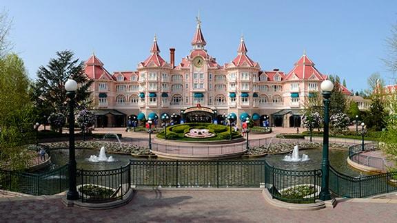 Disneyland Hotel In Paris And Its Surrounding Gardens Fountain
