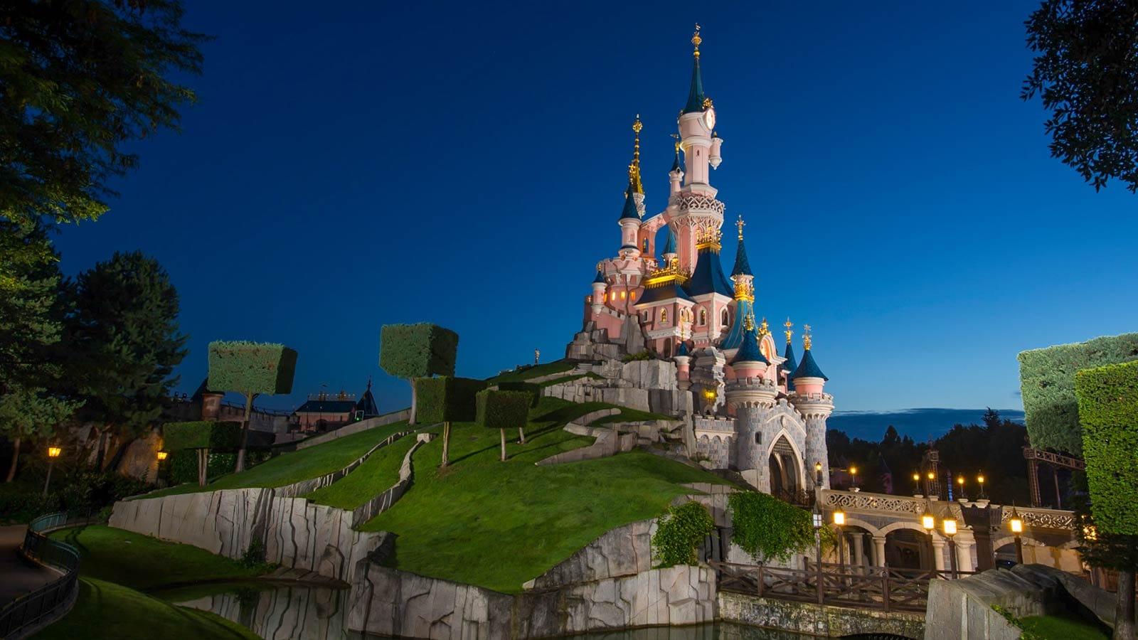 The exterior of Sleeping Beauty Castle in Disneyland Paris