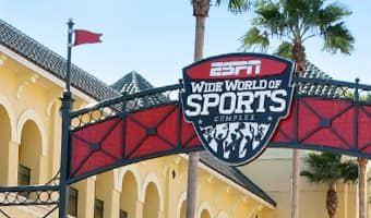 The overhead sign at the entrance to ESPN Wide World of Sports Complex