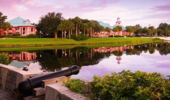 Disney's Caribbean Beach Resort as seen from a bridge across Barefoot Bay
