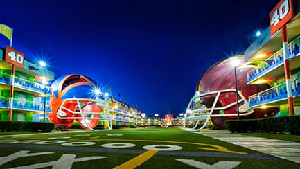 Giant helmets in the football-themed area of Disney's All-Star Sports Resort