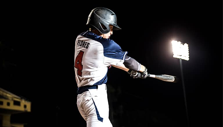 A youth baseball player at bat at ESPN Wide World of Sports Complex