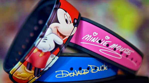 MagicBand 2 designs featuring Mickey Mouse, Minnie Mouse and Donald Duck
